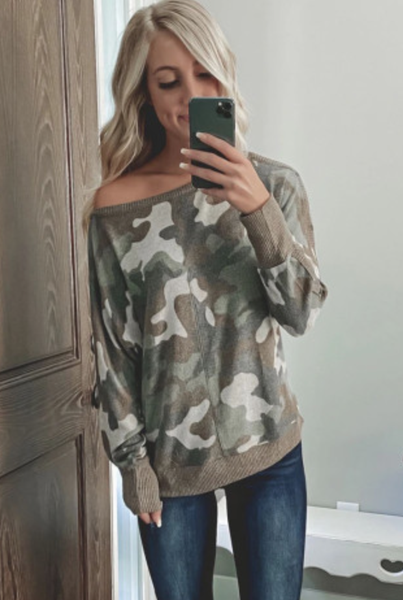 Pre-Order Green Camouflage Print Long Sleeve Top