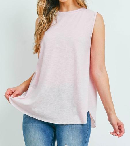 Sleeveless light pink top