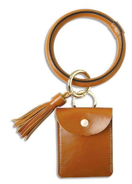 Pre-Order Brown PU Tassel Leather Wrist Card Holder