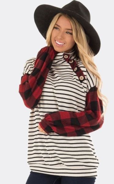 Pre-Order High Neck Striped Button Red Plaid Long Sleeve Top