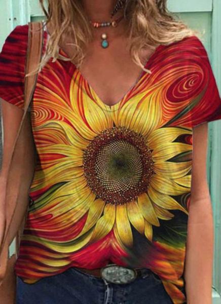 Pre-Order Yellow Sunflower Pattern V Neck Tee