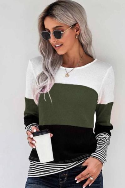 Green Stylish Colorblock Splicing Stripes Top