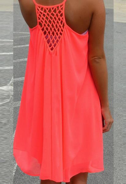Pre-Order Mesh Panelling Backless Chiffon Dress