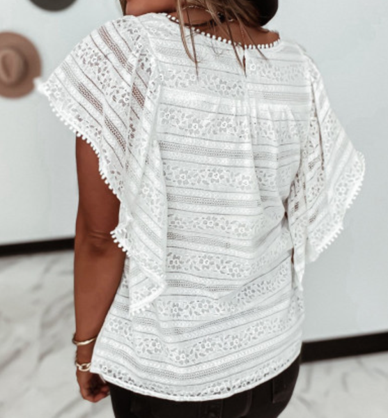pre-order White Cascading Ruffle Lace Blouse