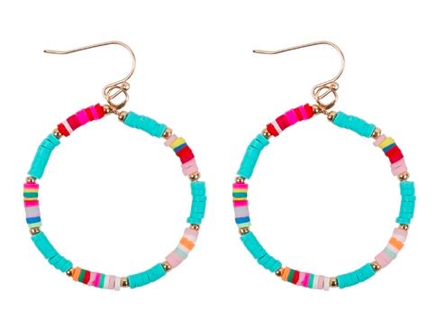 Rubber disk hook earrings - blue