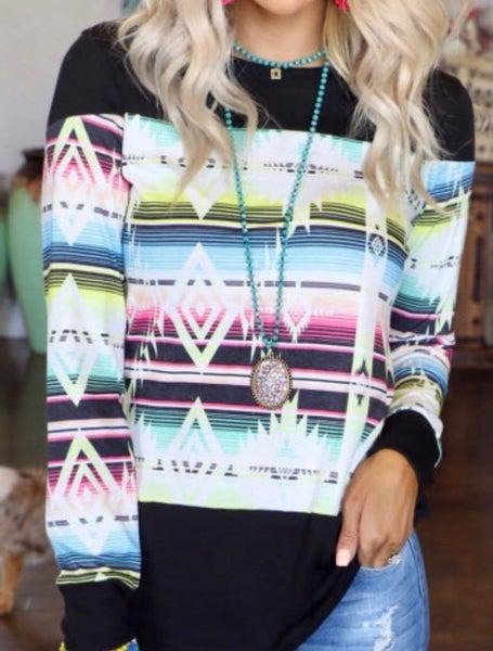 Pre-Order Multi Color Aztec Print Splicing Long Sleeve Top