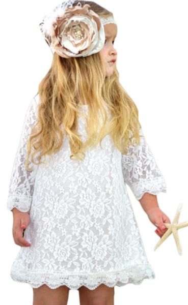 Pre-Order White Flower Girls Lace Mini Dress