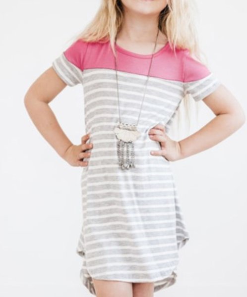 Pre-Order Rose Colorblock Patchwork Striped Girls' Dress