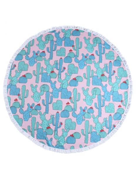 Cactus Pattern Round Towel