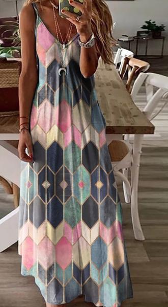 PRe-Order Pink Print V-neck Slip Dress