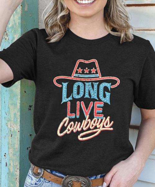 Pre-Order Long Live Cowboy Print Short Sleeve Top