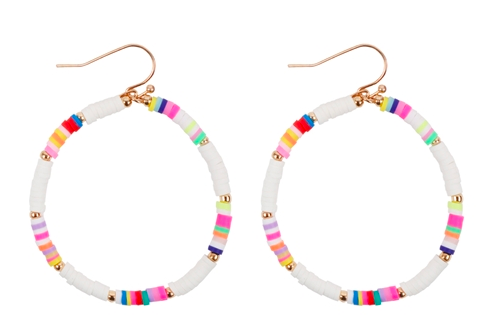 Rubber disk hook earrings - white