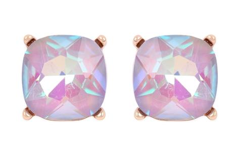 Glass cushion post earrings- Gray