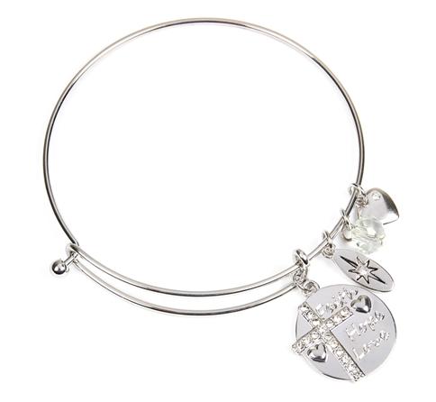3 words cross charm bangle bracelet
