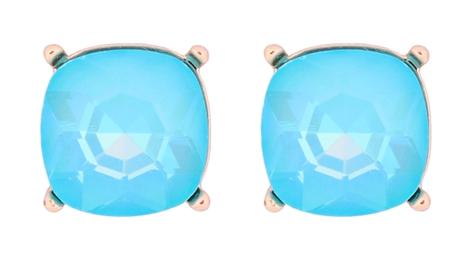 Glass cushion post earrings- Light Blue