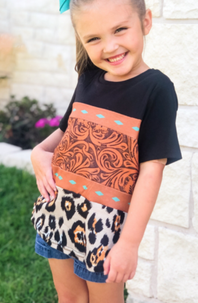 pre-Order Brown Print Leopard Colorblock Girls' T-shirt
