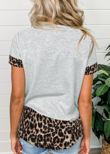 Pre-Order Gray Sequins Accent Leopard Splicing Tee