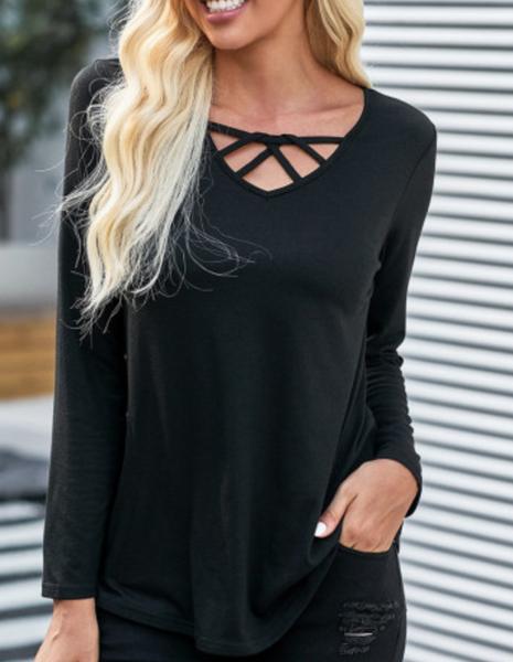 Black Crisscross V Neck Long Sleeve Top