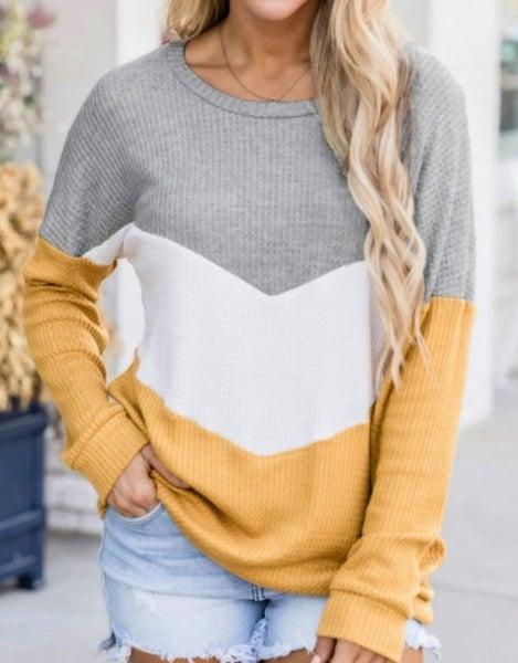 Yellow Chevron Waffle Colorblock Pullover Sweatshirt