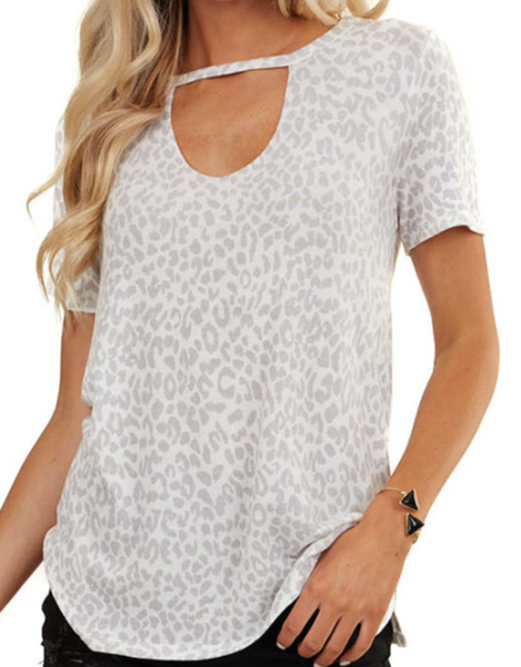 Pre-ORder Gray Leopard Print Hollow-out Neck Tee
