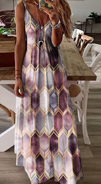 PRe-Order Purple Print V-neck Slip Dress