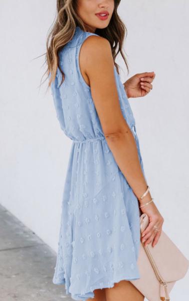 pre-order Sky Blue Split Neck Pom Pom Textured Flowy Mini Dress