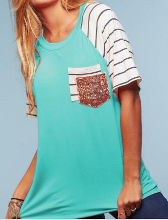 Stripe & Sequin Double Pocket Top