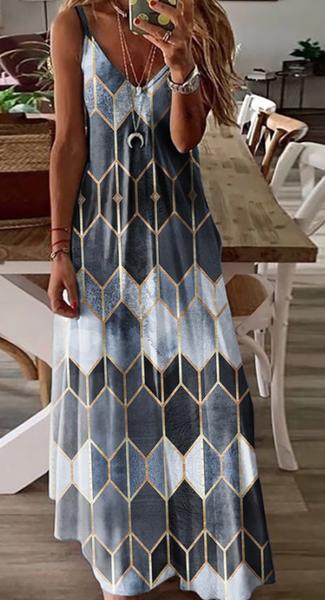 Pre-Order Gray Print V-neck Slip Dress