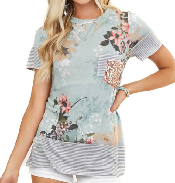 PRe-Order Floral Over Striped Top