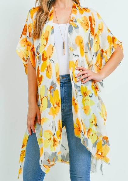 Yellow flower print Kimono