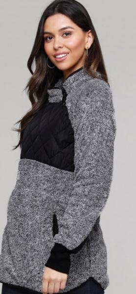 Charcoal Fleece Asymmetrical Snap Pullover