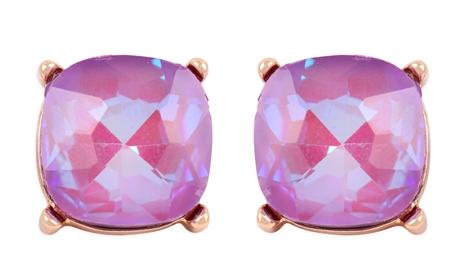 Glass cushion post earrings- Lavender