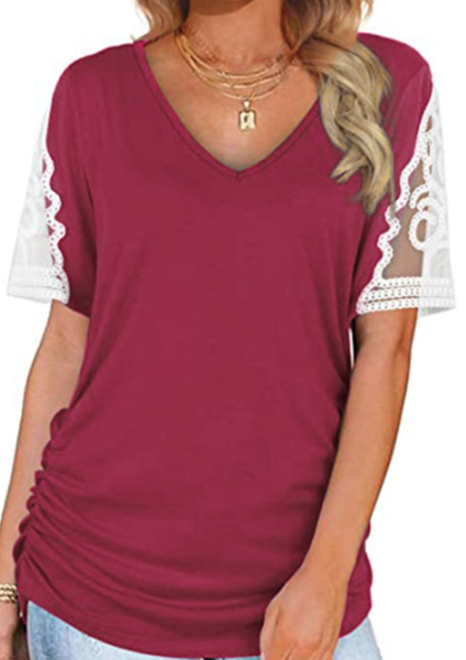 Pre-Order Lace Short Sleeve Splicing V-neck Tee