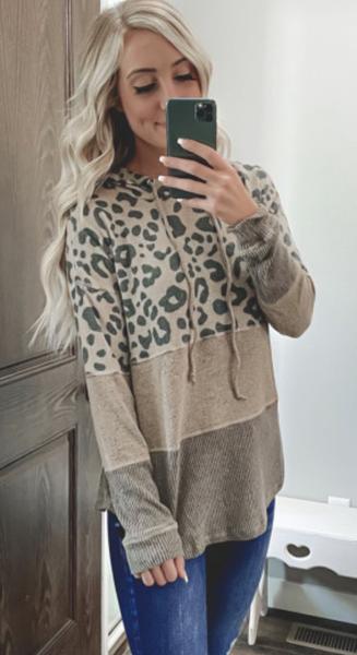 Pre-Order Khaki Leopard Splicing Color Block Hoodie