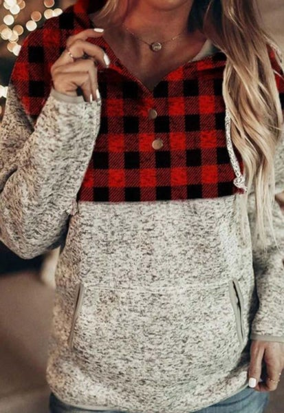 Pre-Order Red Plaid Panel Pocketed Gray Hoodie
