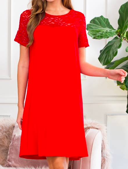 Red-  Short sleeve pleated lace detail dress
