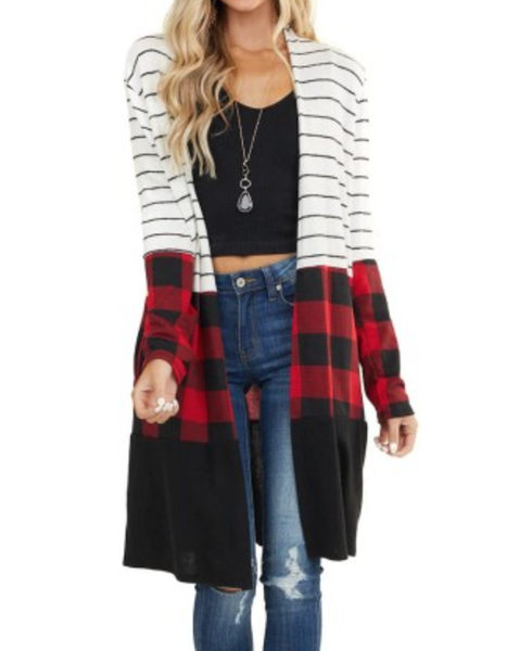 Pre-Order Red Plaid Colorblock Striped Cardigan