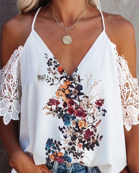 Pre-Order Floral Printed Spaghetti Strap Top With Lace