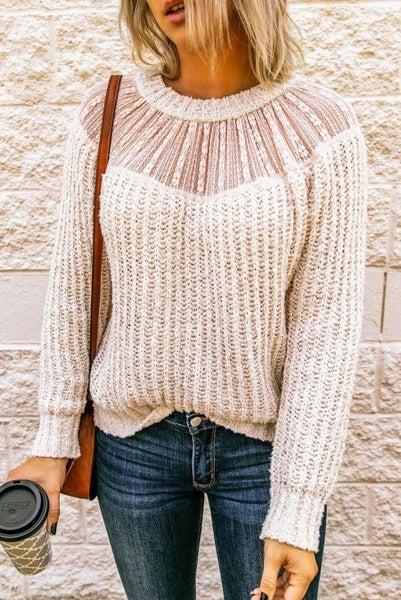 Beige Lace Trim Knit Sweater