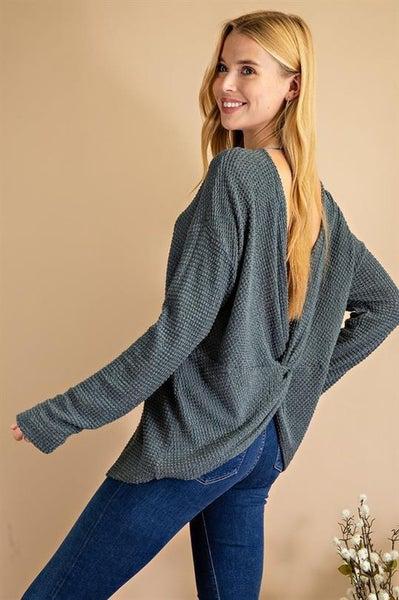 Twist Open Back Sweater Top