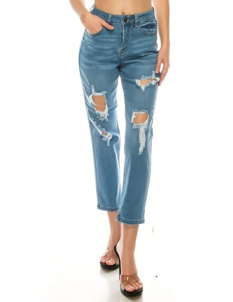 Destroyed Straight Jeans