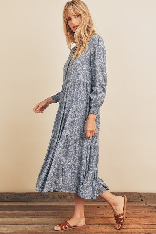 Paisley Tiered Midi Dress