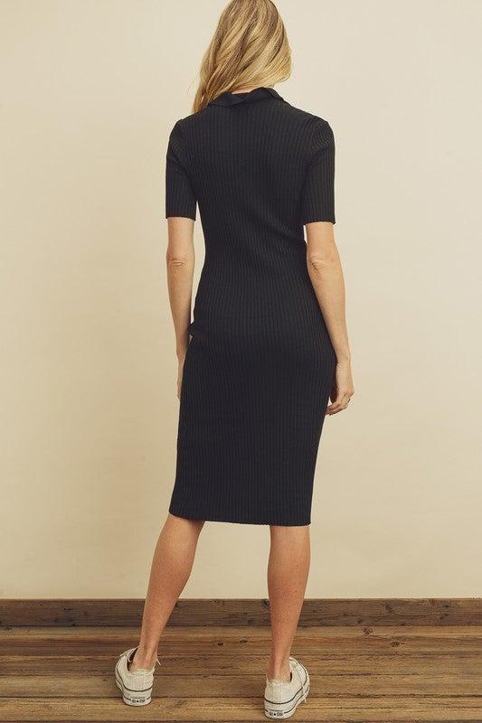 Ribbed Knit Shirt Dress