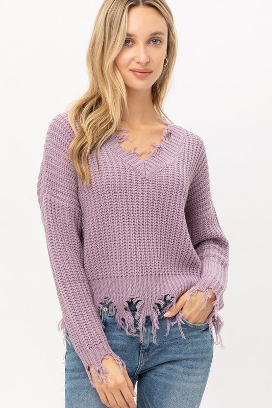Fringed & Distressed Sweater Top