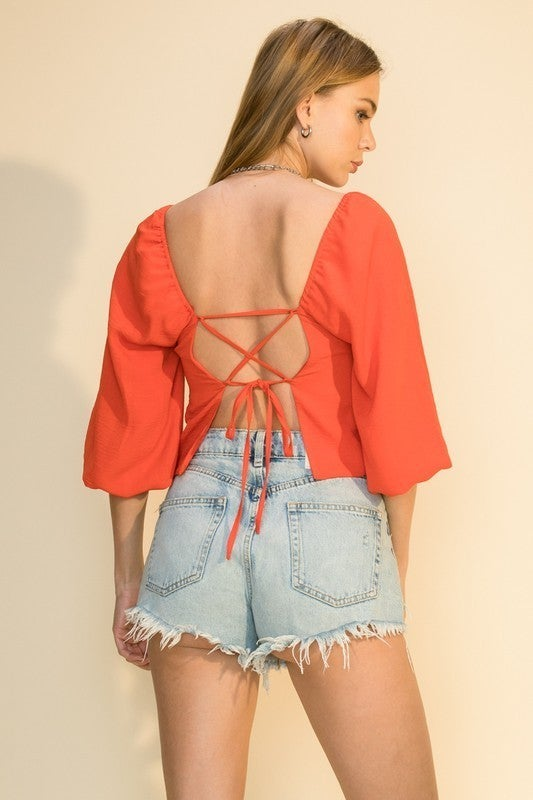 Cross It Out Lace-Up Top