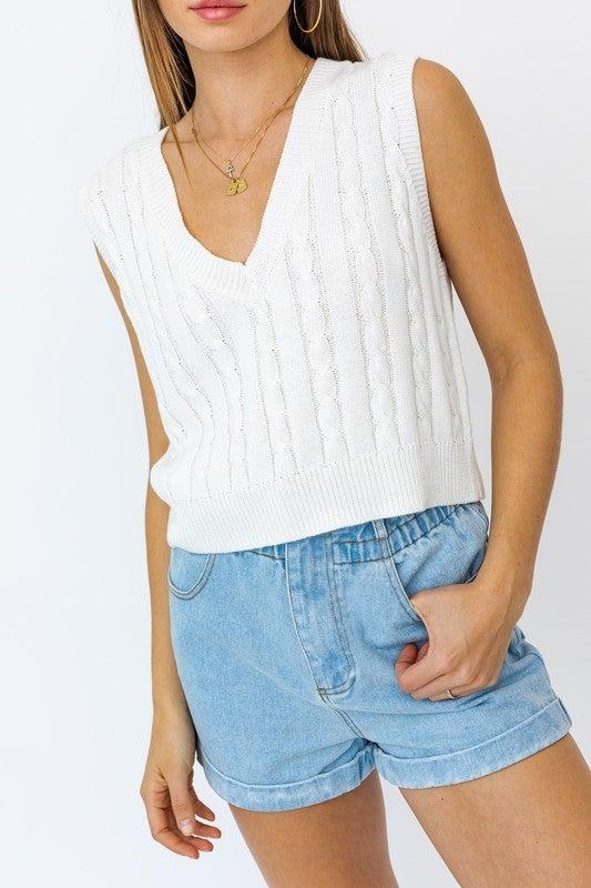 Ella Cable Sweater Vest