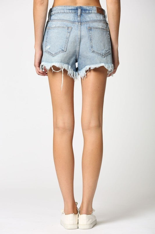 Uneven Frayed Mom Short