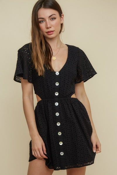 Push Your Buttons Cut Out Dress