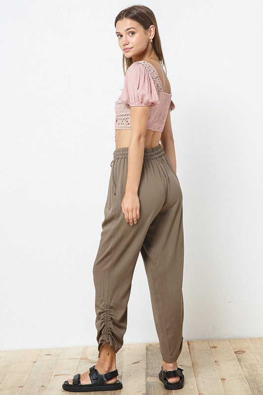 Side Ruching Jogger Pants