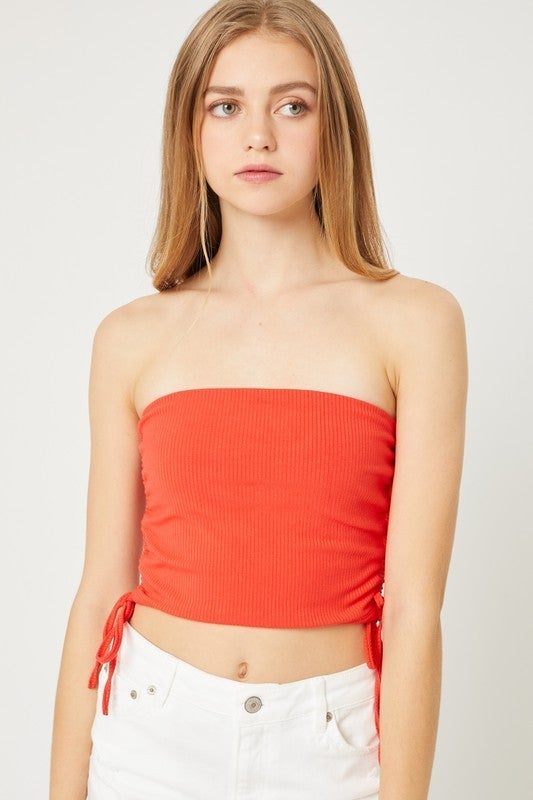 Red Hot Side Tie Tube Top
